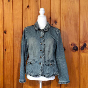 Ruffle Jean Jacket Size Small J.Jill Fitted button